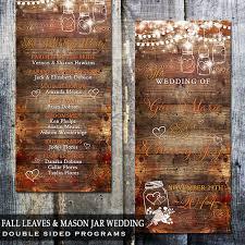 Mason Jar Wedding Programs Rustic Fall Leaves Mason Jar Wedding Program Wood Background