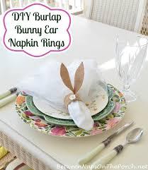 easter napkin rings diy pottery barn burlap bunny ear napkin rings for your table