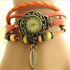 girls leather bracelet images Women new design retro leather bracelet leaf decoration quartz jpg