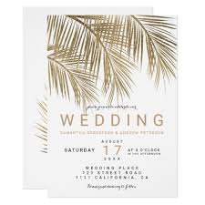 palm tree wedding invitations modern faux gold palm tree wedding card zazzle