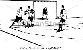 vectors illustration of sketch sporsmeny play football in the gym