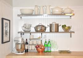 Wood Wall Mounted Shelving Chrome Polished Metal Frame Wall Mounted Shelves For Kitchen Using
