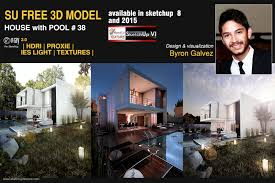 sketchup texture great free sketchup 3d model house with pool 38