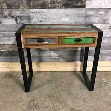 Reclaimed Wood Console Table Industrial Reclaimed Wood Console Entryway Table Rustic