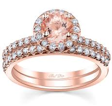 Rose Gold Wedding Ring Sets by Morganite Rose Gold Bridal Set