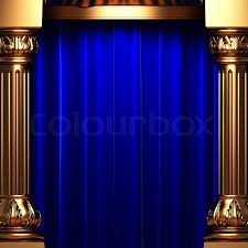 Blue Velvet Curtains Blue Velvet Curtains Behind The Gold Columns Made In 3d Stock