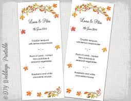 printable wedding menu template fall menu diy