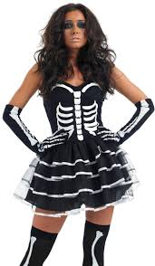 ladies skeleton bones tutu halloween fancy dress costume