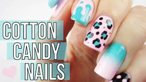 mix u0026 match cotton candy nail art tutorial youtube