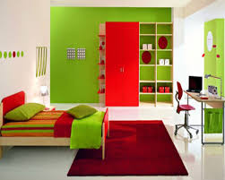 green wall theme and red wooden wardrobe connected by green