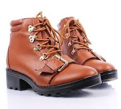 womens combat boots size 9 cognac lace up side buckles med heels womens combat boots