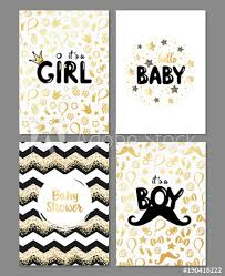 baby shower posters vector set of baby shower cards it s a girl it s a boy card