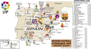 Spain On A Map Spain La Liga 2007 Attendance Map Billsportsmaps Com