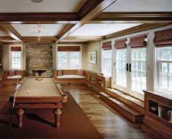 man cave window treatments family room farmhouse with stone