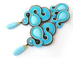 Long Chandelier Earrings Dangle Earrings Black Dangle Earrings Long Chandelier Earrings Soutache