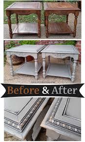 Old Bedroom Set Makeover Oak End Tables In Distressed Black Before U0026 After Black Paint