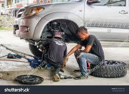 car suspension repair kota kinabalusabahaug 112016the car mechanics checking stock photo