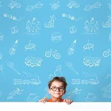 blue white removable wallpaper