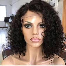 is island medium hair a wig water wave curly bob human hair full lace wig curly lace front wig