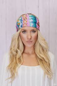 boho headbands boho headband wide turban aztec covering in lavender teal