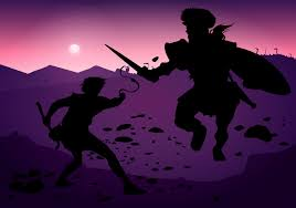 david and goliath silhouette fight free vector download free