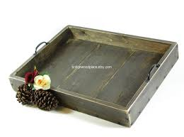 furniture elegant wooden large ottoman tray with stitched leather