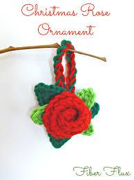 fiber flux free crochet pattern christmas rose ornament