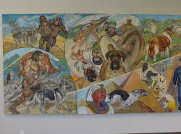 history of our mural central hospital for veterinary medicine and line that touch each area of the painting binding the component parts and the theme to each other and to the dominating shape of the veterinarian