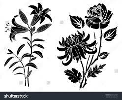 rose lily chrysanthemum tattoo silhouette flowers stock vector