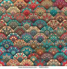 ottoman with patterned fabric seamless pattern vintage decorative elements hand drawn background