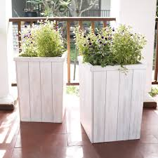 Large White Planter by Coral Coast Cape Maye Weathered Eucalyptus Wood X Outdoor Planter