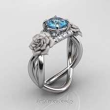 topaz engagement ring nature inspired 14k white gold 10 ct blue topaz diamond vine