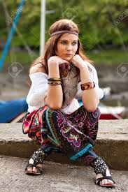 hippie style pretty young hippie caucasian girl in motley boho fashion style