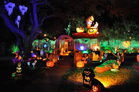 amazing scary outdoor halloween party design with lighting of the