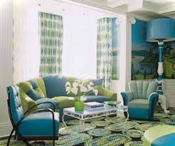 charming green and blue living room decor for home interior design