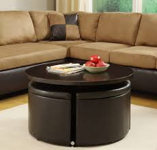 leather coffee table with storage tags astonishing round ottoman