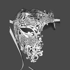 silver mask online shop silver half skull metal prom venetian