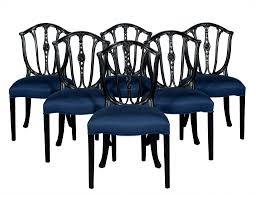 set of six antique shield back dining chairs in black carrocel