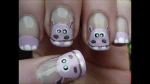 super cute hippo nail art tutorial youtube