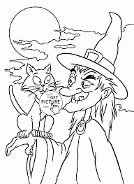 halloween witch and black cat coloring pages for kids halloween