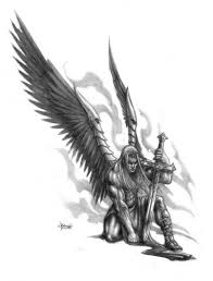 grey ink warrior with wings and sword design