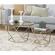 gold nesting coffee table amazon com adeco luxury modern metal golden accent nesting