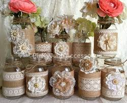 jar vases 10x color lace and burlap covered jar vases wedding