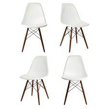 Molded Dining Chairs Set Of 4 Eames Style Dsw Molded White Plastic Dining Shell Chair