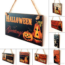 2017 happy halloween decoration wooden hanging plaque board sign