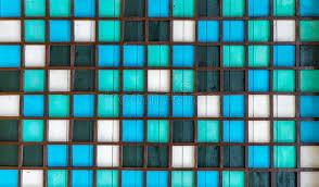 Muster Blau Grün H羝lzernes Quadratisches Muster Blau Gr羮n Wei罅 Stockfoto Bild