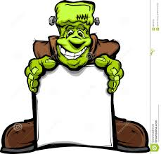happy frankenstein halloween monster with sign royalty free stock