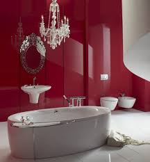red bathroom decor ideas brown stained wooden drawer cabinet