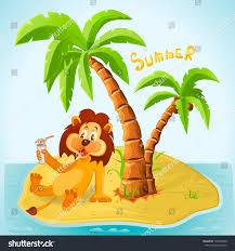 cartoon lion resting on island summer stock vector 194309849