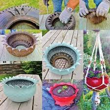 diy recycled tire teacup planters video